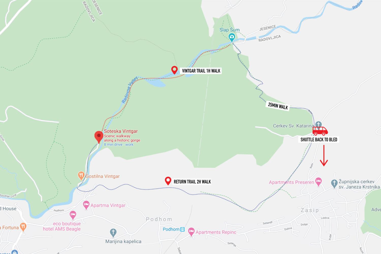 Vintgar Hiking Map